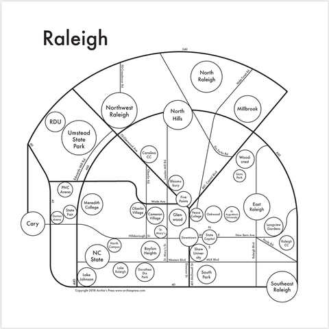 Raleigh Small Map Print