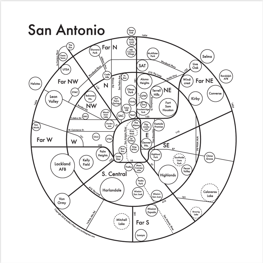 San Antonio Small Map Print