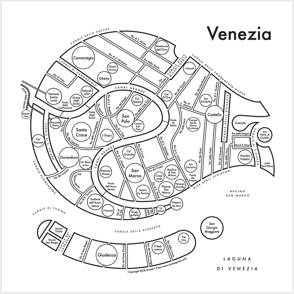 CLEARANCE - Archie's Press Venice Small Map Print