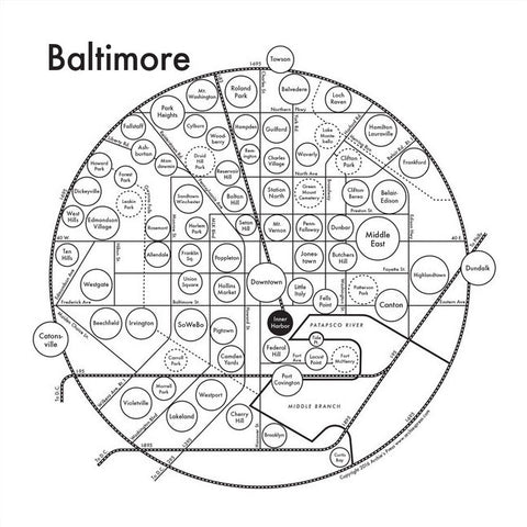 CLEARANCE - Archie's Press Baltimore Small Map Print