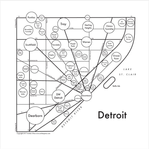 Detroit Small Map Print