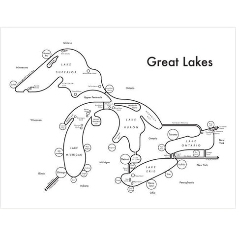 CLEARANCE - Archie's Press Great Lakes Map Print