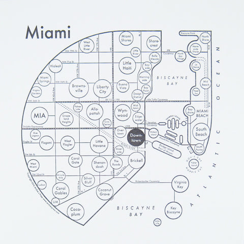 CLEARANCE - Archie's Press Miami Small Map Print