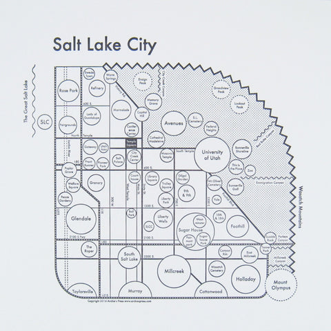 CLEARANCE - Archie's Press Salt Lake City Small Map Print