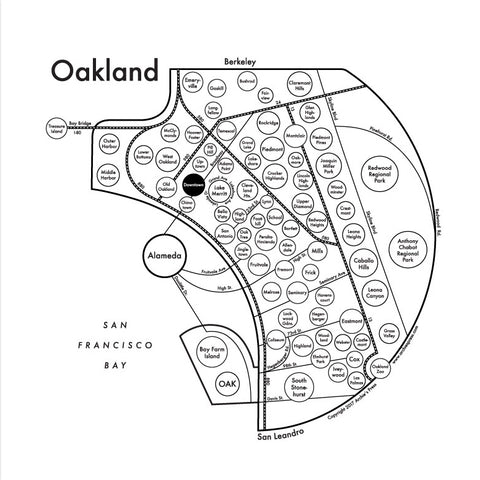 Oakland Small Map Print