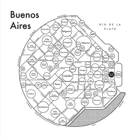 CLEARANCE - Archie's Press Buenos Aires Small Map Print
