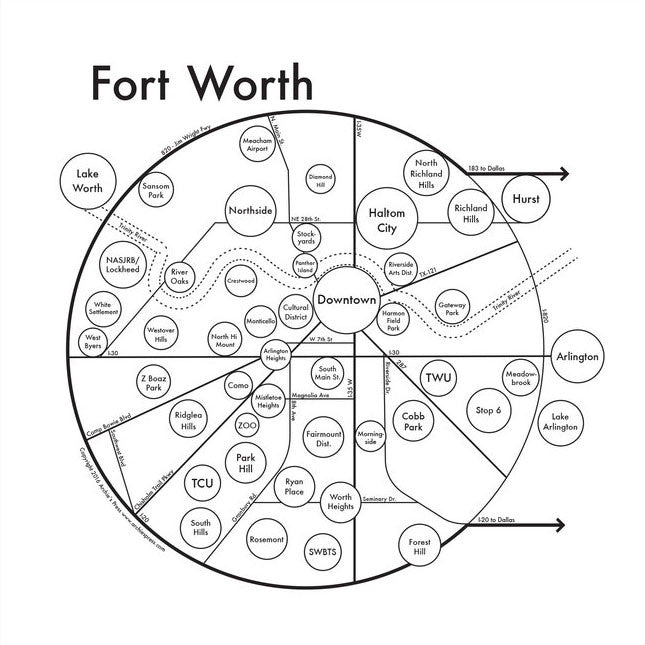 Fort Worth Small Map Print