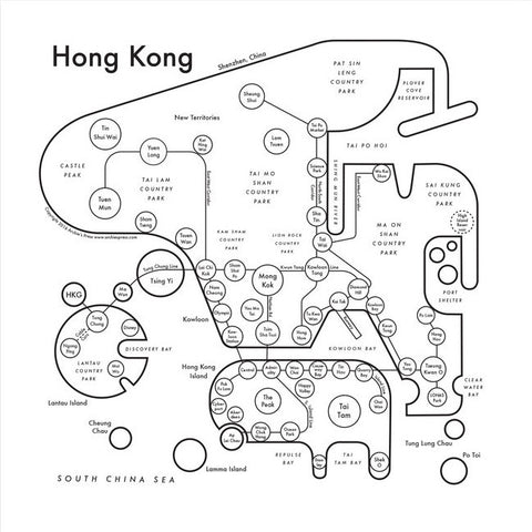 Hong Kong Small Map Print