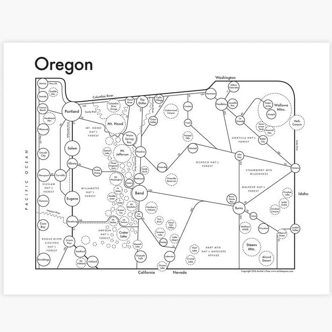Oregon Small Map Print