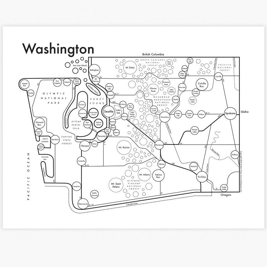 Washington State Small Map Print