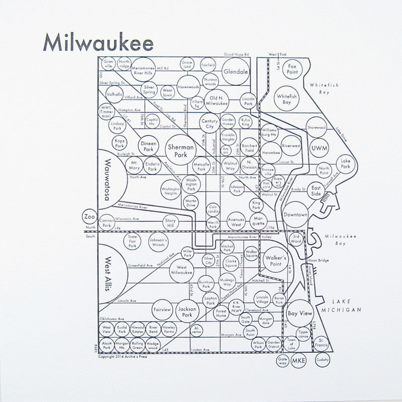 Milwaukee Small Map Print
