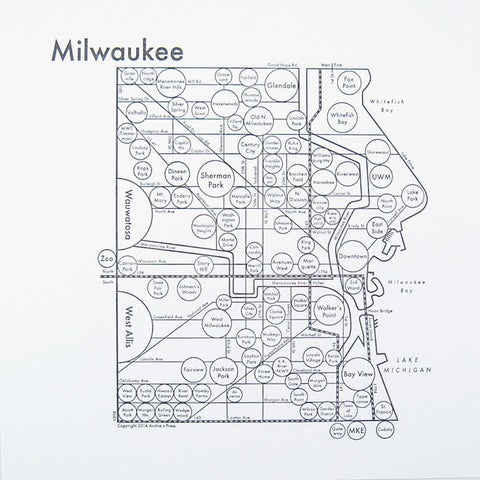 CLEARANCE - Archie's Press Milwaukee Small Map Print