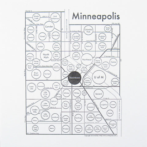 Minneapolis Small Map Print