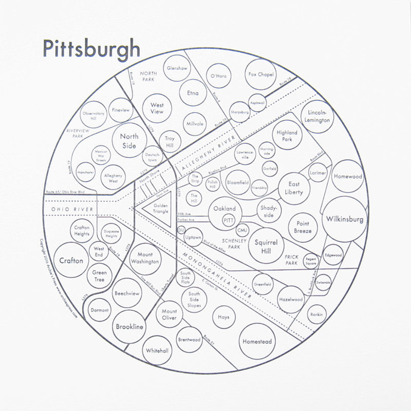 Pittsburgh Small Map Print
