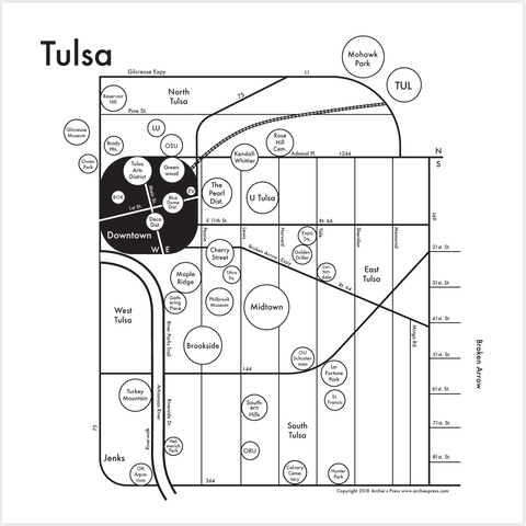 CLEARANCE - Archie's Press Tulsa Small Map Print