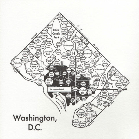 Washington DC Small Map Print