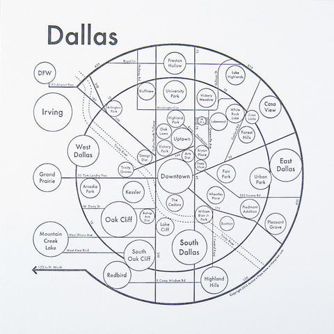 CLEARANCE - Archie's Press Dallas Small Map Print