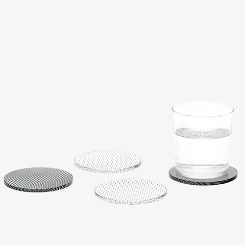 CLEARANCE - Glass Grid Coaster Set