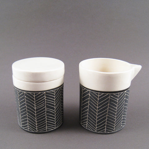 Herringbone Cream & Sugar Set