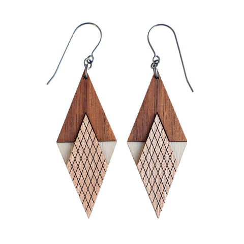 Art Deco Wood Earrings