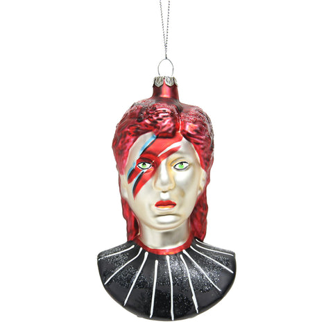David Bowie Glass Ornament
