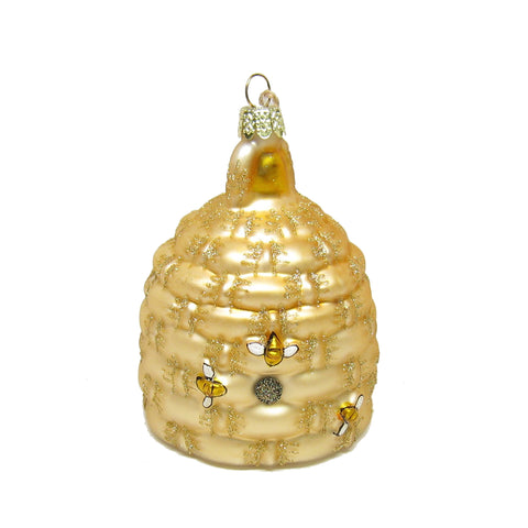 Woven Bee Hive Glass Ornament