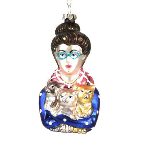 Cat Lady Glass Ornament