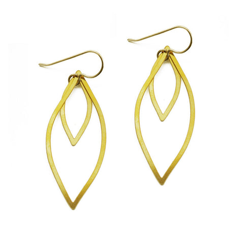 Organic Line Double Leaf Earrings