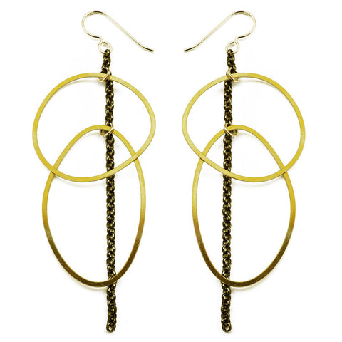 Organic Line Oval Circle Earrings
