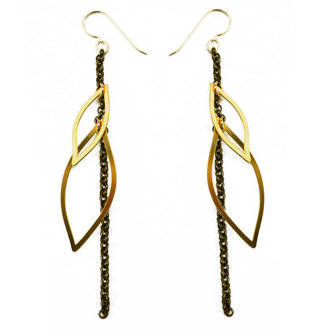 Organic Line Chain Double Leaf Earrings
