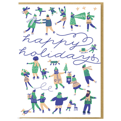 Ice Skaters Holiday Card Set
