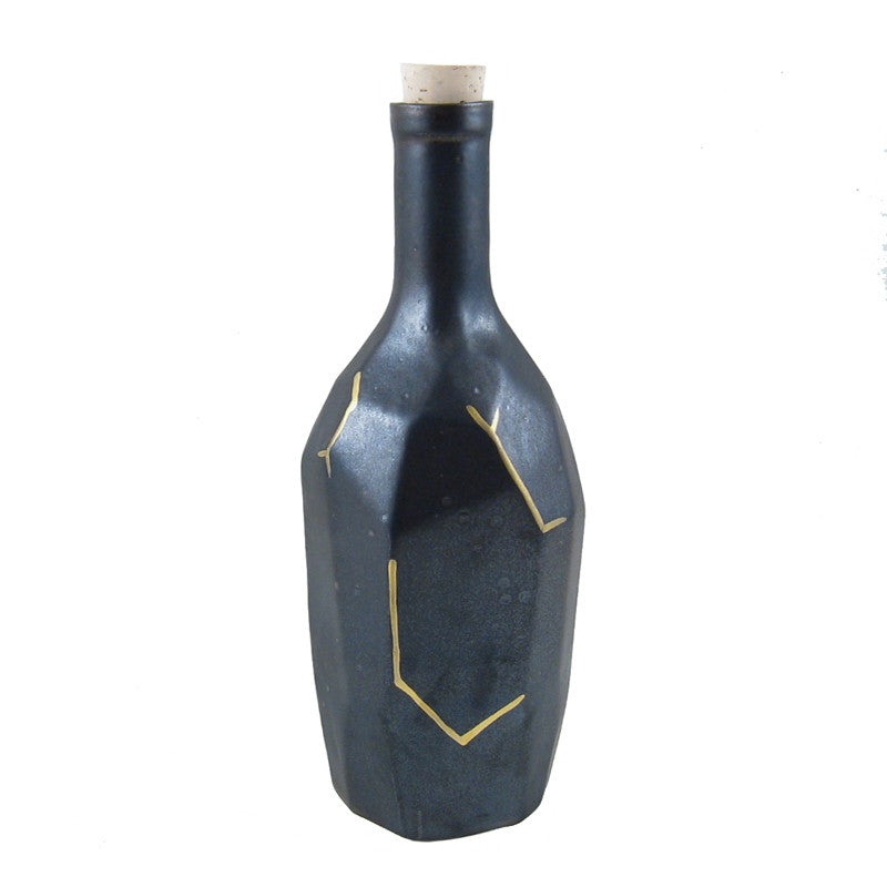 Faceted Bottle with Texturized Glaze