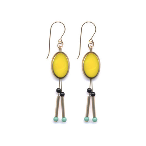 Yellow Oval Totem Earrings