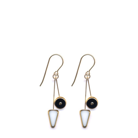 White Arrow Black Wheel Earrings
