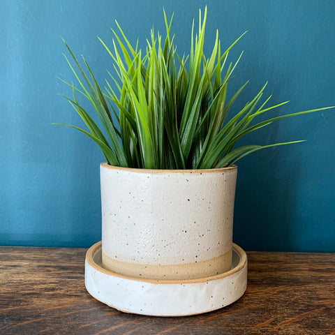 White Stoneware Planter Set