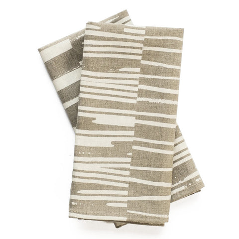 Row Print Linen Napkin Set