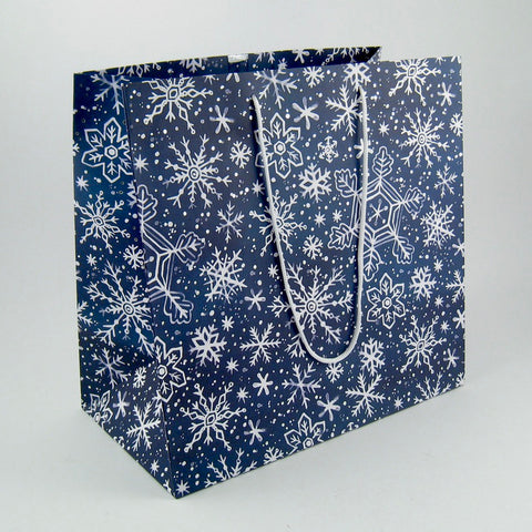 CLEARANCE - Large Navy Snowflake Gift Bag