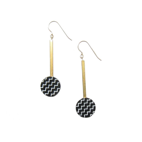 Zigzag Dot Drop Earrings