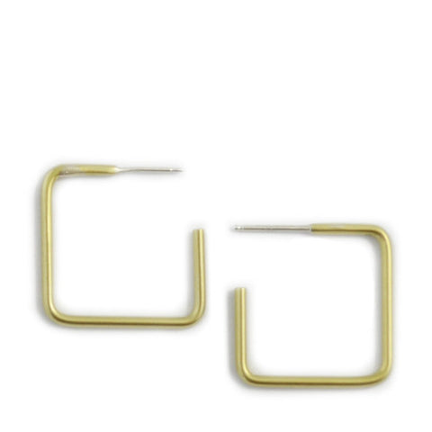 Small Scale Simple Square Hoop Earrings