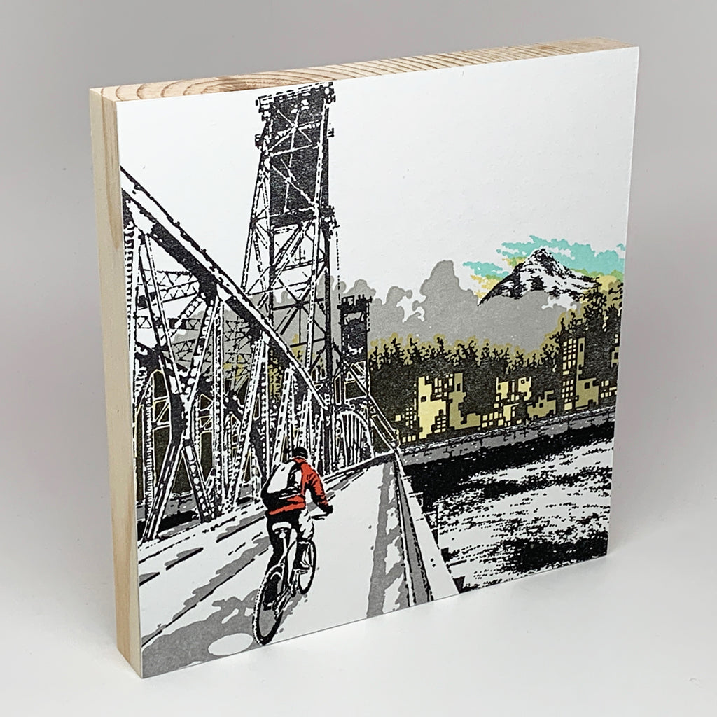 Hawthorne Bridge Cyclist Mounted Print
