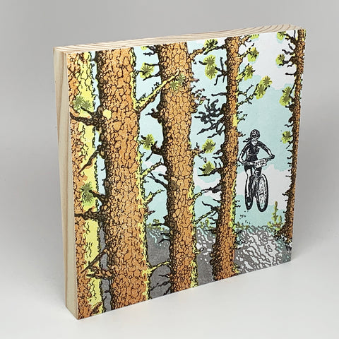 Mountain Biker Girl Mounted Print