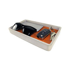 Concrete Leather Valet Tray