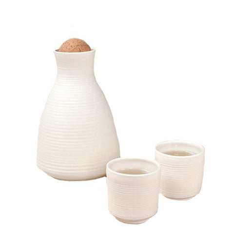 Ribbed Sake Carafe and Cups