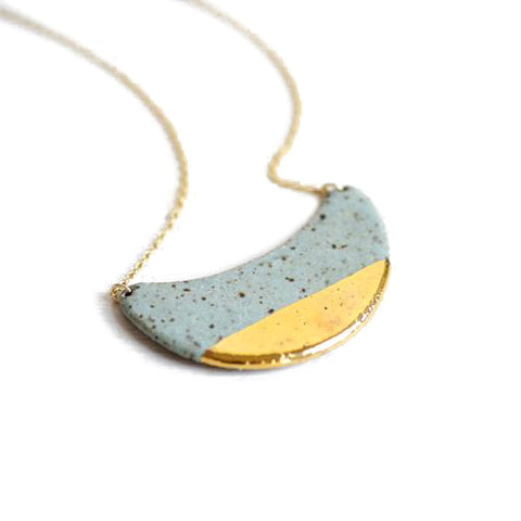 Speckled Stone Dipped Crescent Necklace