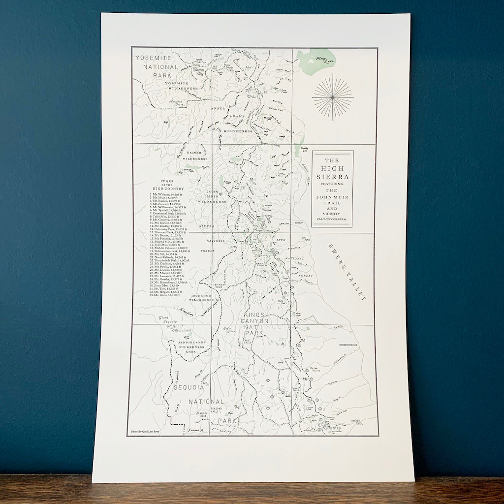 High Sierra Map Print