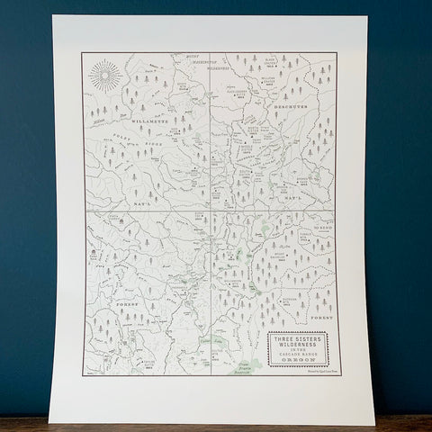 Three Sisters Wilderness Map Print