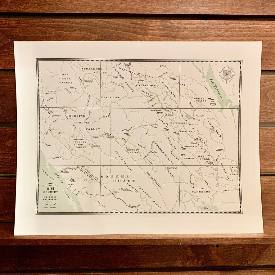 California Wine Country Map Print