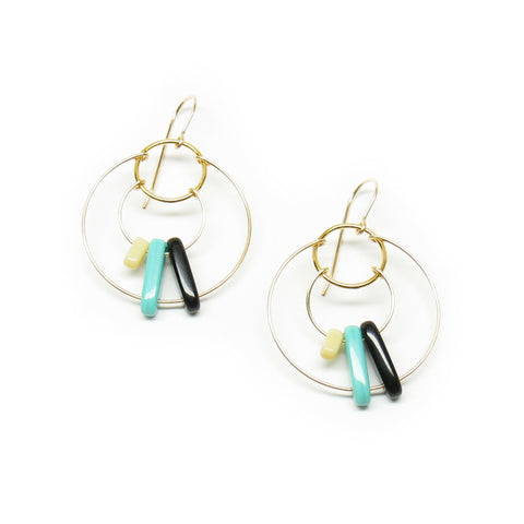 Threaded Hoop Multi Bar Earrings