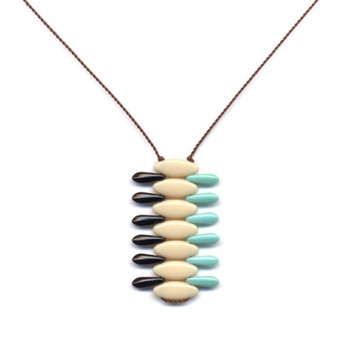 Cream Weave Pendant Necklace