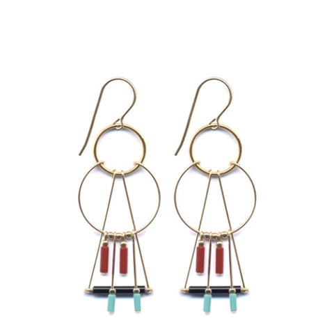 Layered Triangle Hoop Fringe Earrings